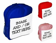 Personalised Any Image or Text Childrens School Bag Rucksack Backpack