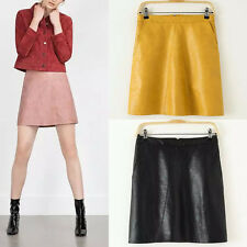 Fashion Candy Color Retro High Waist Bodycon PU Faux Leather A-Line Mini Skirt