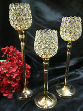 Crystal Gold wedding centerpieces Pillar Votive Candle Lamps and Holders Decor