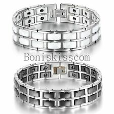 Black White Ceramic Stainless Steel Link Men's Magnetic Therapy Power Bracelet