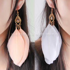 2 Pairs Jewelry Handmade Goose Feather Earring Dangle Hook Eardrop Charm Party