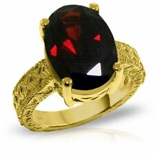 Genuine Garnet 6 ctw Oval Gemstone Solitaire Ring 14K. Yellow,  White, Rose Gold