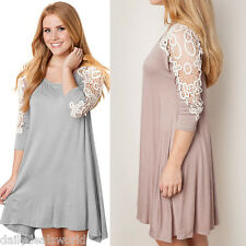 Women's Casual Loose 3/4 Sleeve T Shirt Blouse Floral Tunic Lace Mini Dress Tops