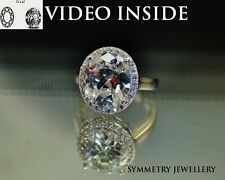 LADY*Oval Cut Halo Ring Engagement Ring Wedding Diamond Ring Made in Italy