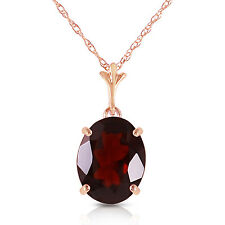 Genuine Garnet Oval 3.12 ct Gem Pendant Necklace in 14K Yellow, White, Rose Gold