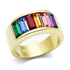 Pride Shack- Gold Beauty Rainbow CZ Ring LGBT Lesbian Gay Pride Commitment Ring