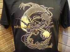 3D Tattoo T-shirt Gold Asian Chinese Japanese Dragon Fire on Black Tee S-2XL New