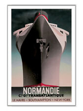 SS Normandie 1935 Transatlantic French Line Cruise Ship Vintage-Style Ad Poster