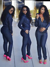 New Woman Ladies Casual Zip Up Jumpsuit Romper Longsleeve Bodysuit Bodycon Pants
