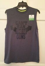 Boys Muscle T-shirt Gray Crew Neck Can't Ban These Guns Humor Cotton NWT XXL S