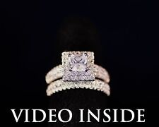 FAMOUS*3.8CT 2Pcs Engagement Diamond Ring Platinum 22KT Sterling Silver Italy