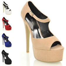 WOMENS PLATFORM HEELS PEEP TOE LADIES STILETTO STRAPPY PARTY SHOES SANDALS SIZE