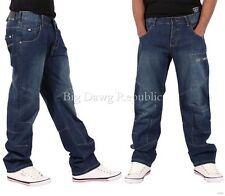 ECKO MENS BOYS JAGUAR STAR RELAXED FIT JEANS TIME IS G MONEY DENIM NAPPY HIP HOP