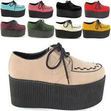 WOMENS HIGH PLATFORM LADIES TRENDY RETRO FLAT TRIPLE CREEPER 7.6cm SHOES SIZE