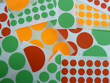 Red, Orange, Green Colour Coloured Sticky Labels, Circular Circle Round Stickers