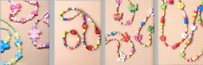 GIRLS BEADS FLOWER BUTTERFLY LADYBIRD BRACELET & NECKLACE SET WOOD OR PEARLISED