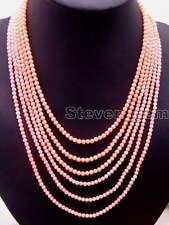 "SALE 6 Strands 3-4 MM pink Coral18-25"" NECKLACE WITH Big Pink flower CLASP-n5671"