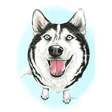 Siberian Husky Art Print Huskies Dog Breed Portrait Ready to Frame Weeze Mace