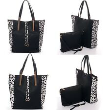Handbag Leopard Cheetah Jaguar Print Pattern Extra Pouch Bag Purse Faux Leather