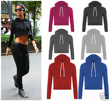 New Womens Fleece Long Sleeve Crop Top Pullover Hooded Sweatshirt Cropped Hoodie