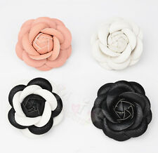 Vintage Charm White/Pink/Black Camellia Pin Brooch Leather Flower Pin Brooch
