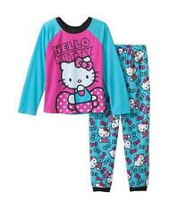Girls HELLO KITTY Blue Hot Pink PAJAMAS PJs Size 6 8 NWT pant top shirt raglan