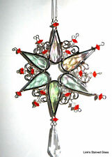 Stained glass Snow Flake sun catchers with crystal