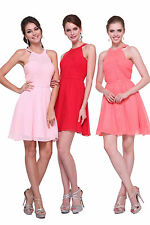 New Sexy Short Chiffon Halter Bridesmaid Dress Ruched Bodice with Waistband