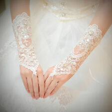 Bridal Wedding PROM PARTY Costume Long Gloves Fingerless Crystal Sequins Lace