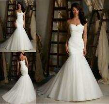 Mermaid White Ivory Pleat Train Sex Noble Wedding Dress 2 4 6 8 10 12 14 16 18 +