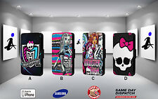 MONSTER HIGH FASHION DOLL PUNK HIPSTER FAUX LEATHER FLIP PHONE CASE COVER L65