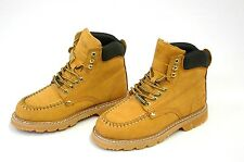 Mens Work Boots Oil Resistant Stitched Genuine Leather Hiking Padded Shoes Tan