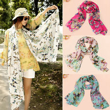 Hot Sale Fashion Chiffon Women Lady Butterfly Print Neck Shawl Scarf Wrap Stole