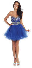 Mini Sweetheart Strapless Sequins Mesh Sassy Prom Short Graduation Formal Dress