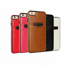 Genuine Leather 2 Card Holder Cover TPU Soft Back Case For iPhone 6 Plus S6 edge