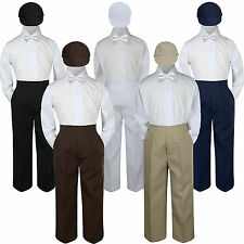 4pc Boy Suit Set White Bow Tie  Baby Toddler Kid Formal Hat Pants S-7