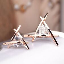 Triangle Rose Gold Plated Stainless Steel Crystal Rhinestones Nice Earring Studs