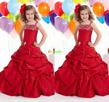 Red Wedding dress  Formal Flower Girls Dress Pageant  fluffy dress communion-G
