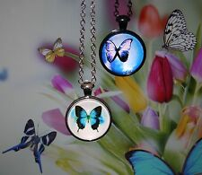 Butterfly design Cabochon Pendant Necklace on Rolo Chain with lobster claw