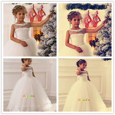New white Lace Wedding Formal Flower Girls Dress Pageant  fluffy dress-G