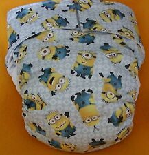 AIO (All In One) Adult Baby Reusable Cloth Diaper S,M,L,XL Minions