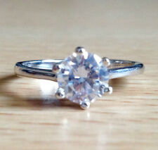 925 Sterling Silver Clear CZ Stone Stacking Ring Band- US Size 6,7,8, 9