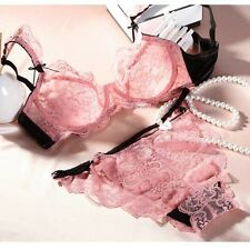 Plus Size Summer Ultra-thin Unlined Lace Underwire Bra set for Women A,B,C,D cup