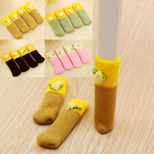 NEW 4x Flower Wool Knit Floor Foot Protector Chair Table Leg Sock Sleeve Cover