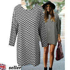 UK Fashion Womens Ladies Long Sleeve Casual Loose Stripe Blouse Shirt Dress Tops
