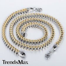 6mm Mens Chain Foxtail Box Gold Silver 316L Stainless Steel Bracelet Necklace