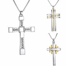 Fashion Unisex Men Silver Cross Crystal White Gold Plated Chain Necklace Pendant
