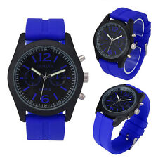Fashion Mens Watches Unisex Geneva Silicone Analog Quartz Wrist Watches Movement