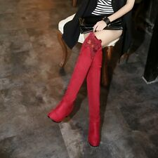 Fashion sexy hollow lace trim women over knee thigh-high wedge hidden heel boots