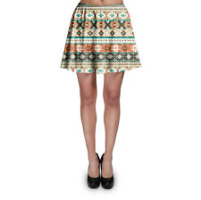 Earthy Aztec Tribal Geometric Skater Skirt XS-3XL Stretch Flared Short Skirt